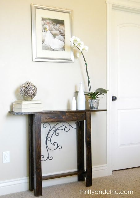 Tutorial: DIY Sofa Table (what I like most is the decorative scroll work, which she picked up at Hobby Lobby for less than 10 bucks!)