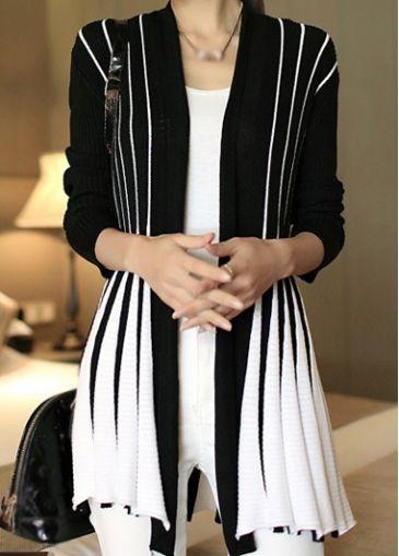 Trendy Stripe Print Long Sleeve Cardigan for Woman