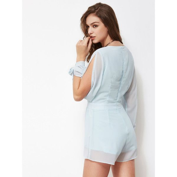 SheIn(sheinside) Plunge Split Sleeve Bow Tie Cuff Playsuit (42 BRL) ❤ liked on Polyvore featuring jumpsuits, rompers, summer rompers, white long sleeve jumpsuit, sexy romper, long-sleeve romper and sexy jumpsuits