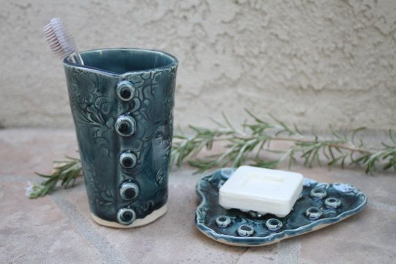 Blue Toothbrush Holder and Soap Dish by ManuelaMarinoCeramic