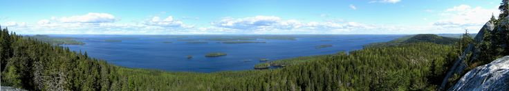 Lake Pielinen from a hill in Koli National Park, Finland.
