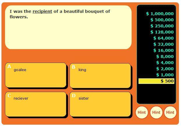 Context Clues Millionaire Game