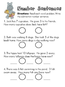 Worksheets Number Sentence Worksheets 19 best images about number sentences on pinterest cut and paste writing subtraction from word problems also pinned addition