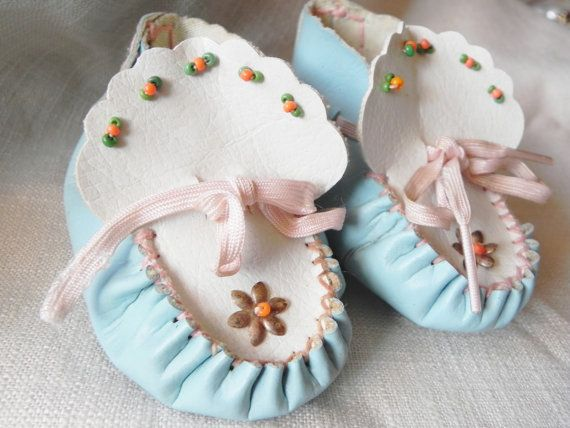 Vintage Beaded Baby Mocassins Shoes Booties by OneMenagerieLane