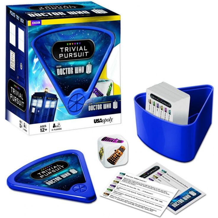 Doctor Who: Trivial Pursuit. Do you know your Daleks from your Cybermen? Rose from Martha? Or which Doctor had a stick of celery with him at all times? Then Doctor Who Trivial Pursuit is the game for you! Packed with 600 questions to challenge even the biggest Doctor Who fan, this Trivial Pursuit edition requires no board and can be carried around in its bite-size wedge case.
