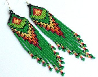 Beaded Native American Earrings Inspired. by LiLaJewelry4You