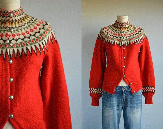 Vintage 1950s Norwegian Wool Cardigan / 50s William by zestvintage