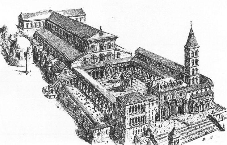 Ricostruzione, elaborata nell'Ottocento, del complesso della Basilica di San Pietro in Vaticano,venne edifica nel IV secolo d.C.