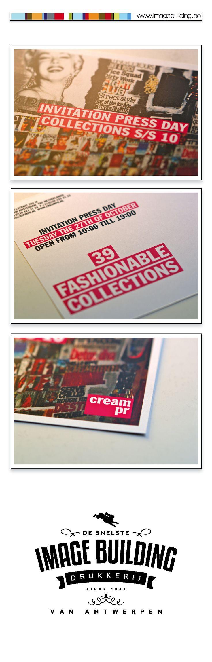 Drukwerk voor 'Cream PR'. Uitnodiging. Fiches. Persmap. Dossiers. Rollupbanners. Bashes. visitekaartjes. #imagebuildingnv #desnelstedrukkerijvanantwerpen #huisstijl #graphicdesign #grafisch #ontwerp #opmaak #drukwerk