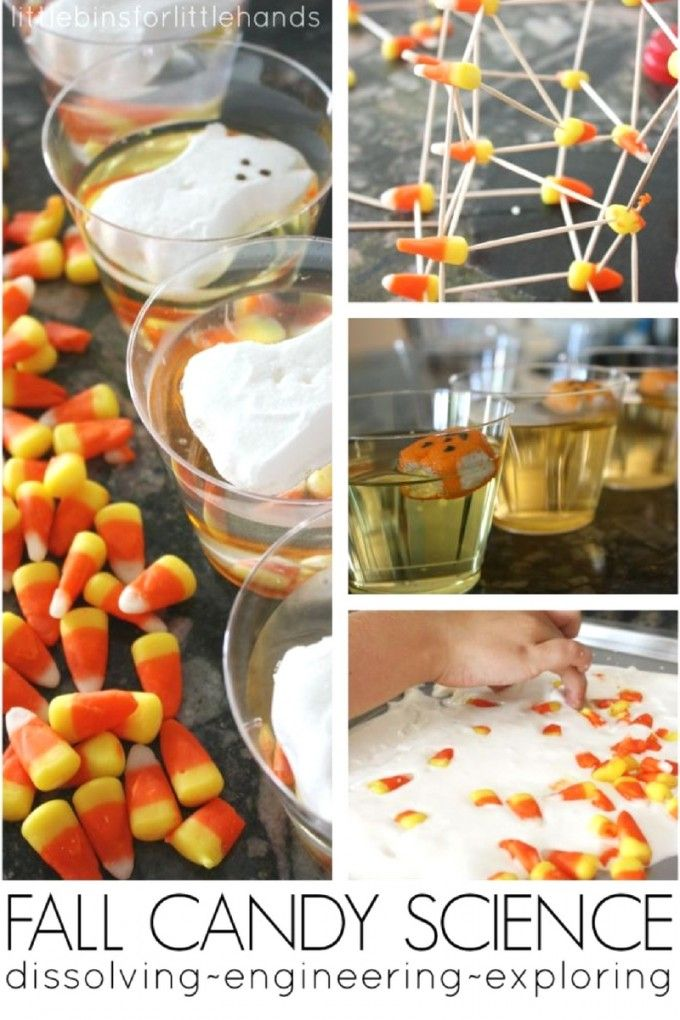 Fun fall and halloween science with dissolving candy experiments and structure challenges. Grab a few packages of halloween peeps and candy corn for easy fall STEM and Halloween STEM activities.
