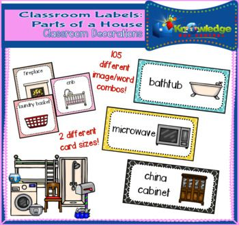 In this set you will find 105 image/word combinations in 2 different formats. The first format is larger, a nice size for flashcards, and the second is smaller, easily used for labeling within the classroom. They are all easy-to-read and great for incorporating into a print-rich classroom.