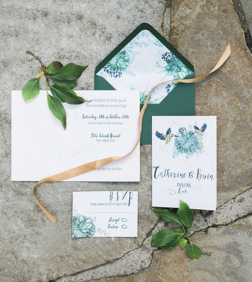 Succulent invitation suite by Lilly Cinnamon Wedding Stationery