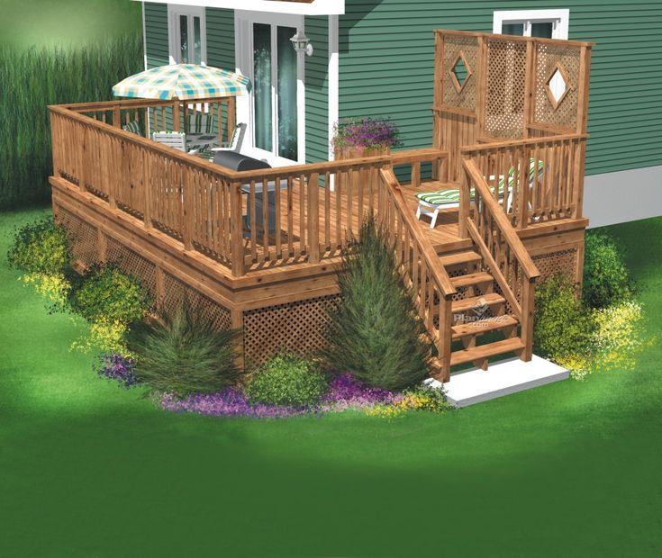 Le design de cette terrasse en bois permet aux occupants for Construire deck piscine