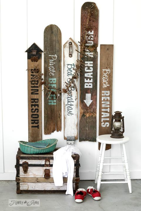 Make your own rustic beach, lake, and bed & breakfast signs with Funky Junk's Old Sign Stencils / funkyjunkinteriors.net