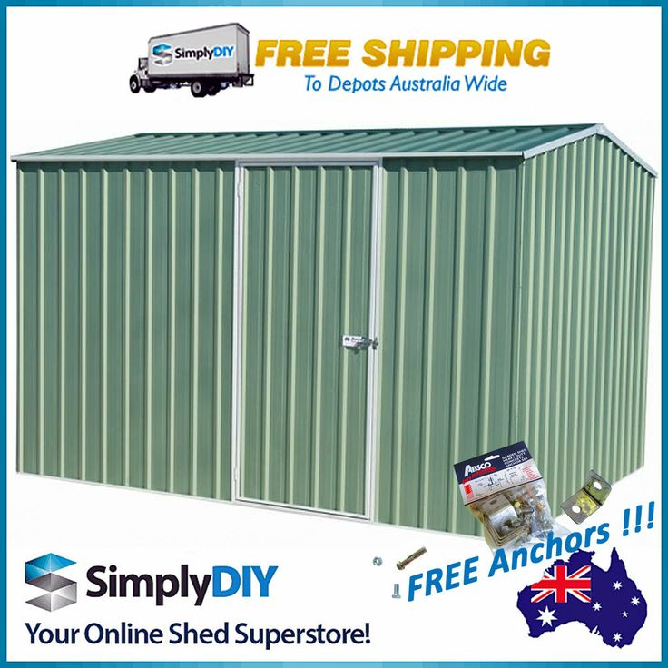 absco premier garden shed 3x226m colorbond storage free anchors pale eucalypt