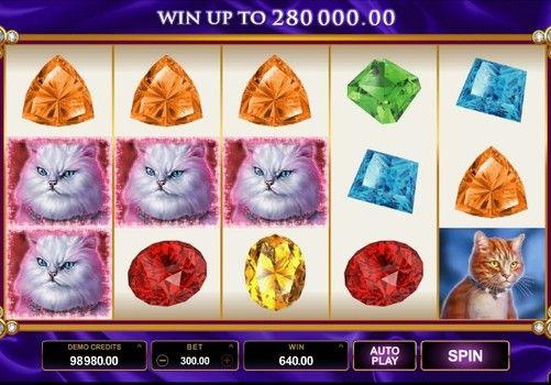 Игровой автомат Pretty Kitty с выводом денег. Все любители кошек обязательно оценят игровой автомат Pretty Kitty с выводом реальных денег. На его барабанах вас ждут пушистые питомцы самых разных пород. А щедрая бонусная система порадует регулярными выигрышами.   Домашни�