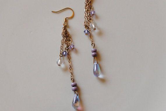 lavender chain drop earrings