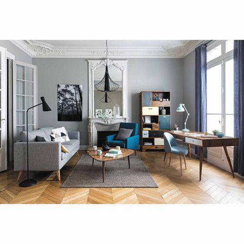 Blauwgroene stoffen vintage zetel
