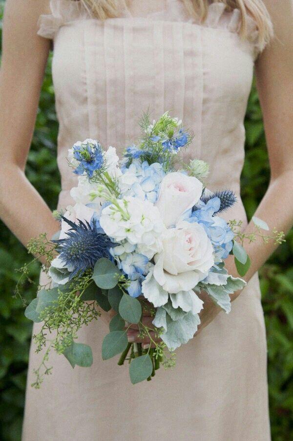 Sweet Wedding Bouquet Featuring Pretty Blue Hydrangea, Thistle, White Stock, Blue Nigella, Ultra Light Pink Roses, Seeded Eucalyptus, & Dusty Miller××××