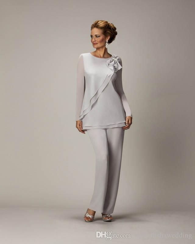 Silver Mother of Bride Pant Suits 2015 Cheap Two Pieces Long Sleeves Chiffon Plus Size Women Formal Wear Custom Made Wedding Party Gowns