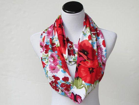 Papavero sciarpa, sciarpa infinity, classica sciarpa papavero papaveri rosa blu fiori LUNGA sciarpa, sciarpa di maglia ciclo morbido jersey, regalo per le donne