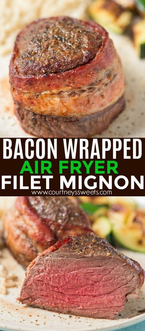 This bacon wrapped filet mignon will wow your dinner guests. Nicely seared on th…
