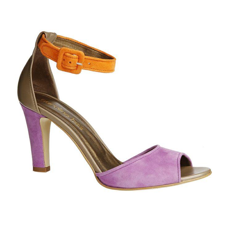 Caroline BissSandaal - daim - tri-color - hakhoogte 7cm - MULTICOLOR (1061_59) . Mooi bij lange benen.