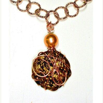 Collier pendaglio terracotta e rame € 25 *Spedizione Gratuita (Necklace with ceramic and copper pendant) www.etsy.com/it/shop/ArtMadeBijoux