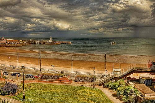 Showers over South Bay in Scarborough, North Yorkshire, England