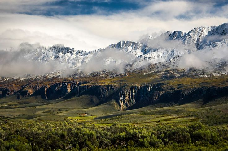 Swartberg colours. The Swartberg mountains under snow, late in Spring, Oudtshoorn district, South Africa