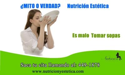 Tomar Sopa es malo. Mito o Verdad. Nutricion Estetica  http://nutricionylaestetica.blogspot.com/2012/08/bajadepesolima.html