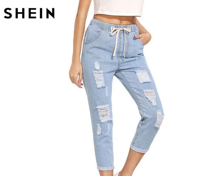 Los Pantalones De Verano Shein Mas Baratos Para Mujer Pantalones Casuales Para Damas Blue Ripped Mid Waist Pantalones De Verano Pantalones Casuales Pantalones
