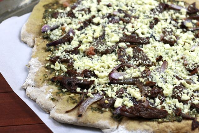 Bacon, Steak and Blue Cheese Pizza