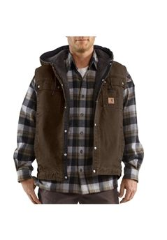 Carhartt Mens Sandstone Hooded Multi-Pocket Dark Brown Vest | Buy Now at camouflage.ca