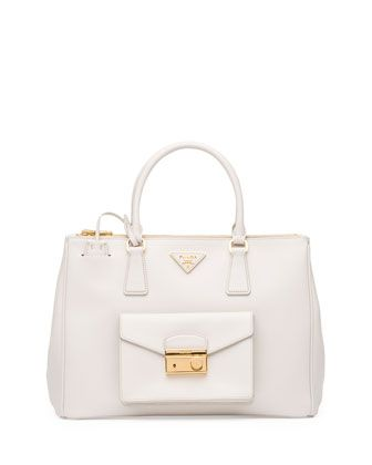 Saffiano Front-Pocket Tote Bag, White (Talco) by Prada at Bergdorf ... - prada galleria bag caramel/papaya