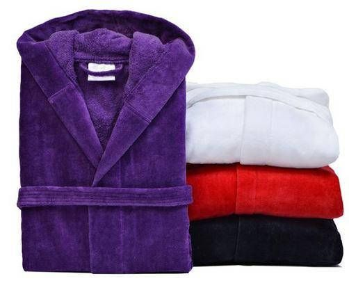 Hooded bathrobes in natural Turkish cotton terry personalized for him or her. We have a red hooded robe, a black hooded robe, purple hooded robe and a white hooded robe. All of these hooded robes are a popular gift choice when personalized with a name or initials. This personalized