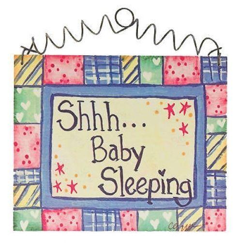 "DECO BABY SLEEPING Door SIGN 5""x6"" Cottage Style Shower Gift Nursery Decor NEW #DECORATIVEGREETINGSINC #Cottage"