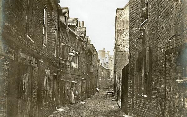 Old Nichol St 1880's. Nick named the Old Jago, a no go area