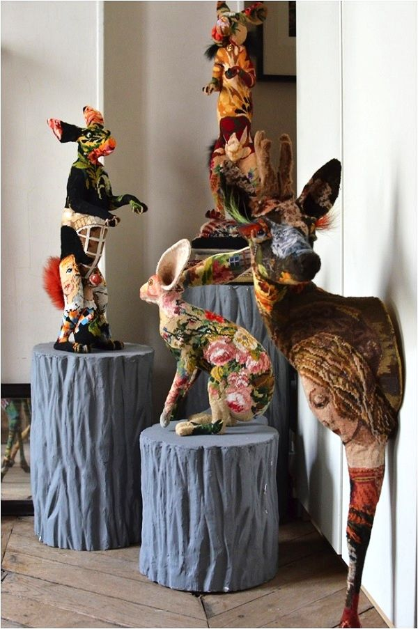 I just love these...So very cool!  Tapestry Trends: Frédérique Morrel Tapestry Taxidermy - a look at the artist's home and studio, Image Source Tracy Lee Lynch