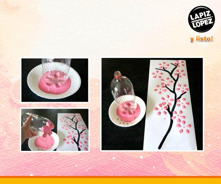 Usa tus temperas #AloColor, cartulina blanca y una botella de plástico para hacer estas creativas y originales flores de pintura. ¡Puedes crear todos los diseños que quieras!