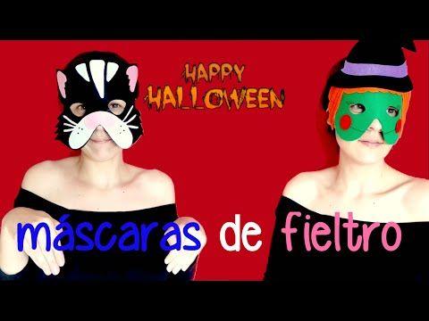 cómo hacer mascaras de fieltro para halloween, ideas para disfrazarse - YouTube