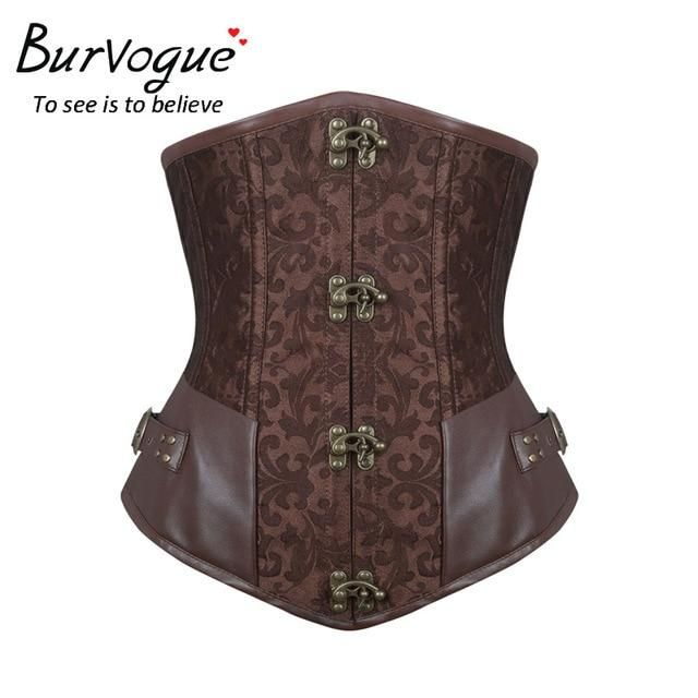 a5068883595 Burvogue Waist Control Steampunk Corsets and Bustiers Leather Corsets Sexy  Women Gothic Underbust Corselet Steel Boned Corsets