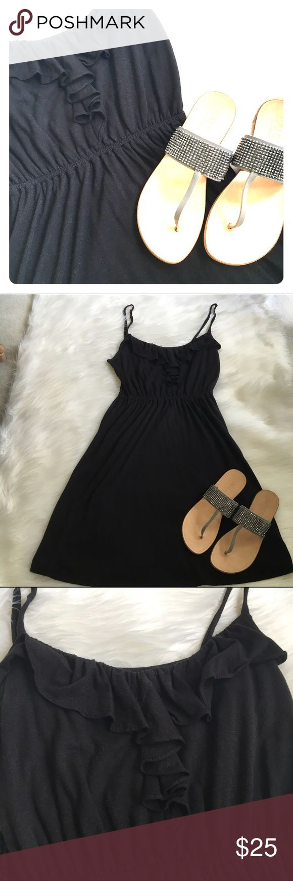 Loft cotton sundress Black sundress with ruffle bodice in 60% cotton and 40% Modal by Loft. LOFT Dresses Midi