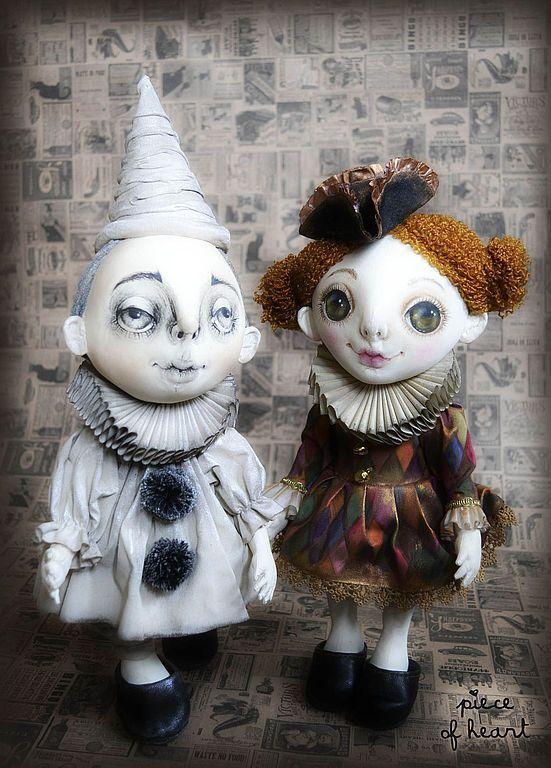 Купить дель арте... - чёрный, бежевый, белый, пьеро, коломбина, дель арте, текстильная кукла