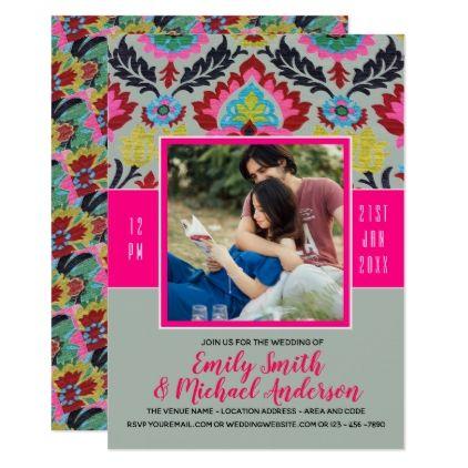 #Folk Flowers | PHOTO Wedding Invite Elegant PINK - #pink #wedding