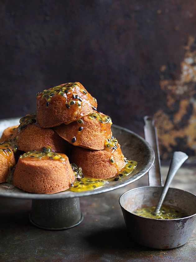 Lemon Extra Virgin Olive Oil Cakes With Passionfruit Syrup | Donna Hay