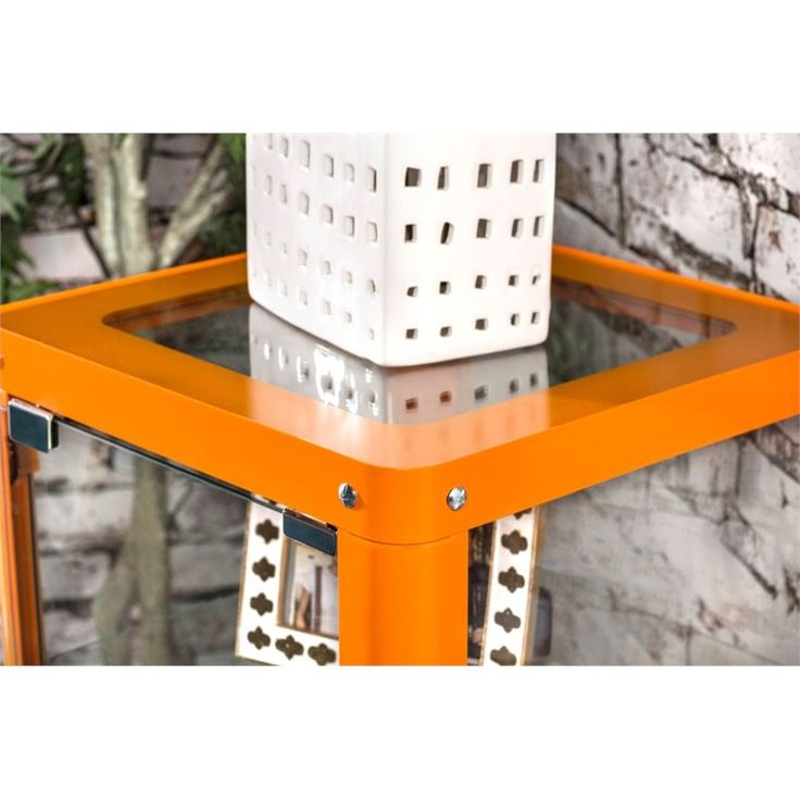 Furniture of America Elton Modern Metal Display Cabinet in Orange ...