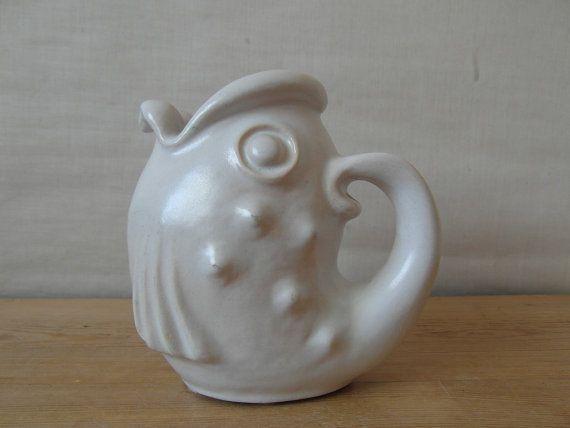 Michael Andersen Denmark - FISH vase - white - fifties - collectible - mid century