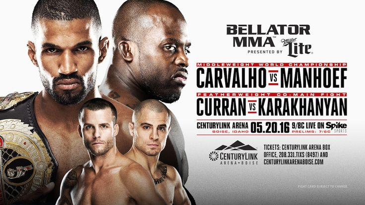 RAFAEL CARVALHO SET TO DEFEND MIDDLEWEIGHT TITLE AGAINST MELVIN MANHOEF AT 'BELLATOR 155' ON MAY 20 PAT CURRAN RETURNS AGAINST GEORGI KARAKHANYAN IN FEATHERWEIGHT ACTION SANTA MONICA, CALIF. (Febru…