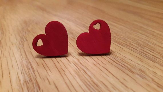Hey, I found this really awesome Etsy listing at https://www.etsy.com/uk/listing/253311028/red-wooden-heart-earrings